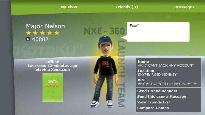 Major Nelson's Xbox LIVE account gets hacked - Gematsu