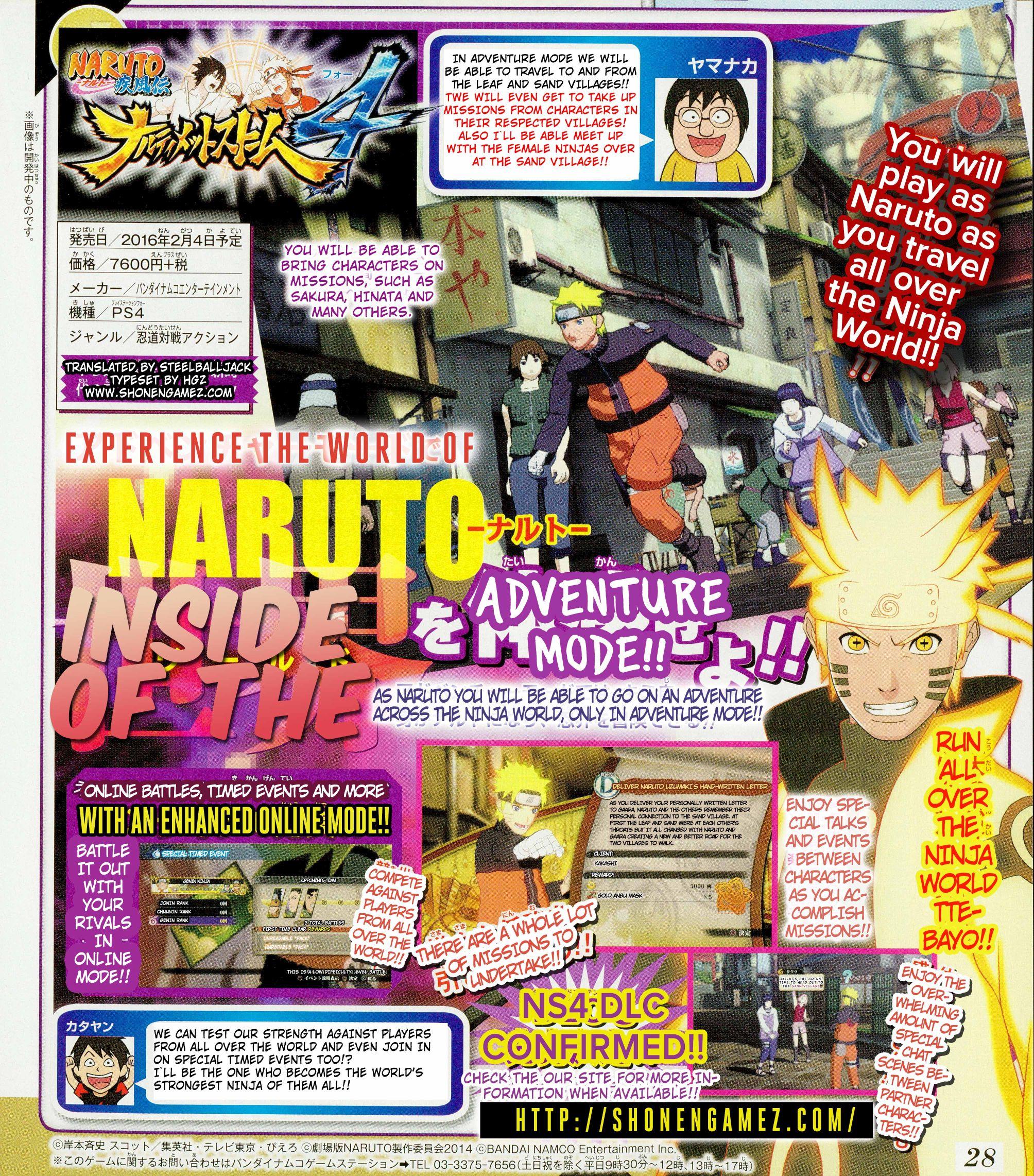 Naruto Shippuden: Ultimate Ninja Storm 4 details Adventure Mode