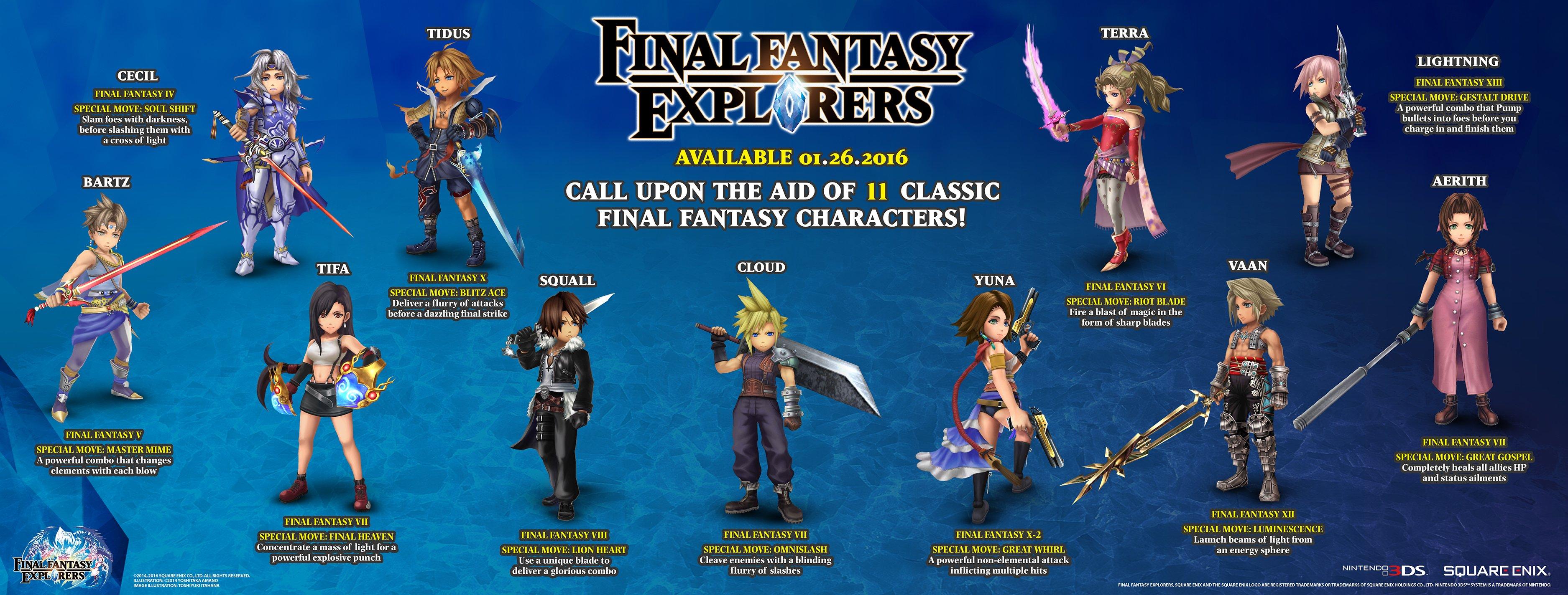 final fantasy explorers legacy characters trance mode cloud squall cecil bartz lightning yuna tifa tidus terra aerith vaan square enix 3ds