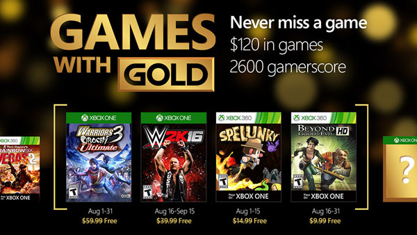 Xbox Live Games with Gold - August 2016