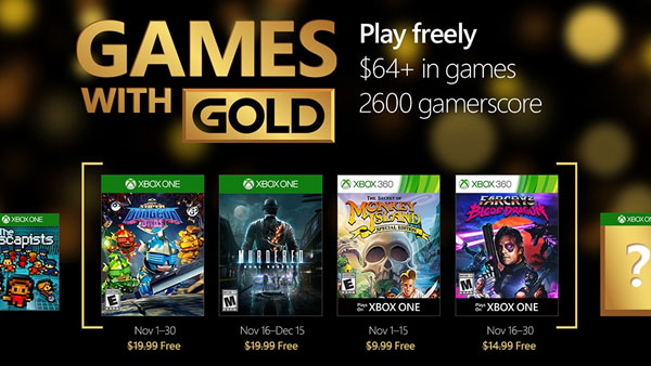 Xbox Live Games with Gold - November 2016