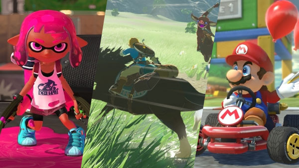Splatoon 2, The Legend of Zelda: Breath of the Wild, Mario Kart 8 Deluxe