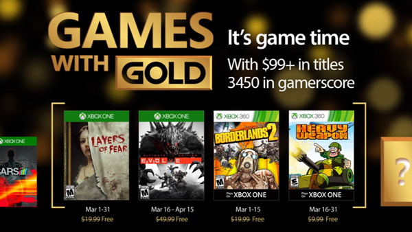 Xbox Live Games with Gold March 2017