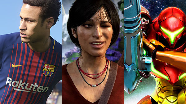 Pro Evolution Soccer 2018, Uncharted: The Lost Legacy, Metroid: Samus Returns