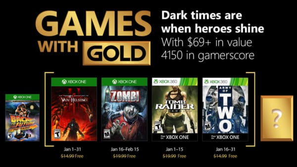 Xbox Live Gold free games for January 2018
