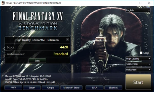 Final Fantasy XV Windows Edition benchmark