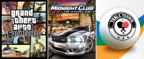 Grand Theft Auto: San Andreas, Midnight Club: Los Angeles, and Rockstar Games Presents: Table Tennis