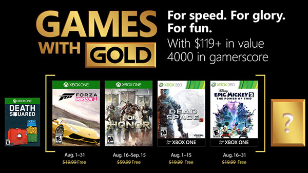 Xbox Live Gold free games for August 2018