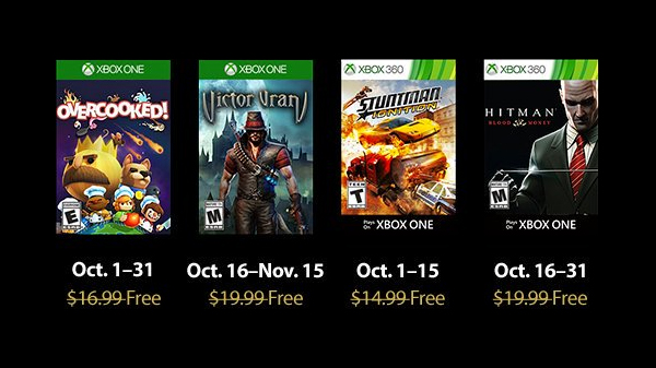 Xbox Live Gold free games for October 2018