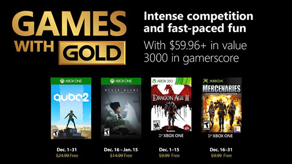 Xbox Live Gold free games for December 2018