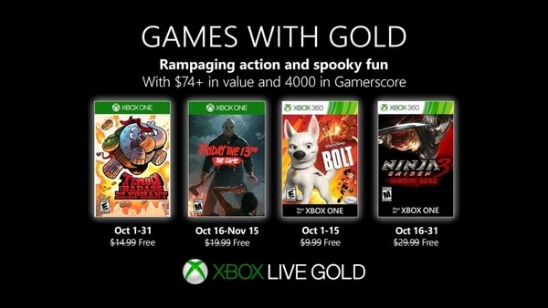 Xbox Live Gold free games for October 2019