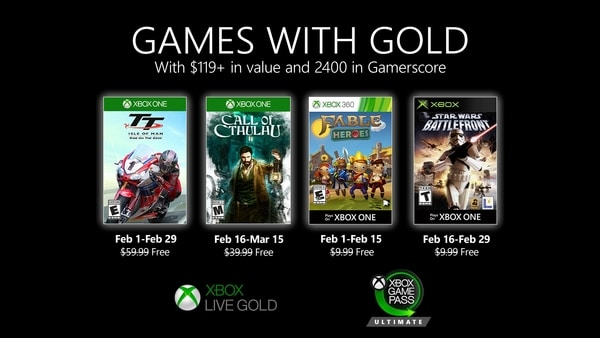 Xbox Live Gold free games for February 2020