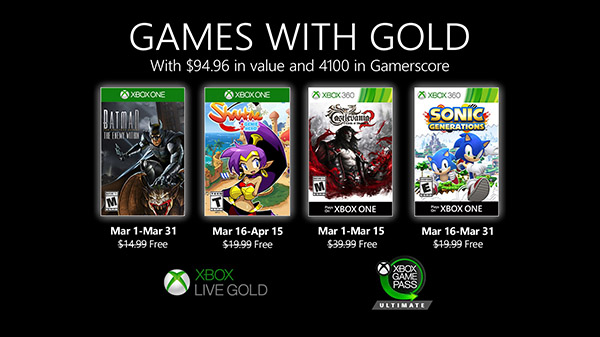 Xbox Live Gold free games for March 2020