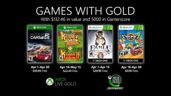 Xbox Live Gold free games for April 2020