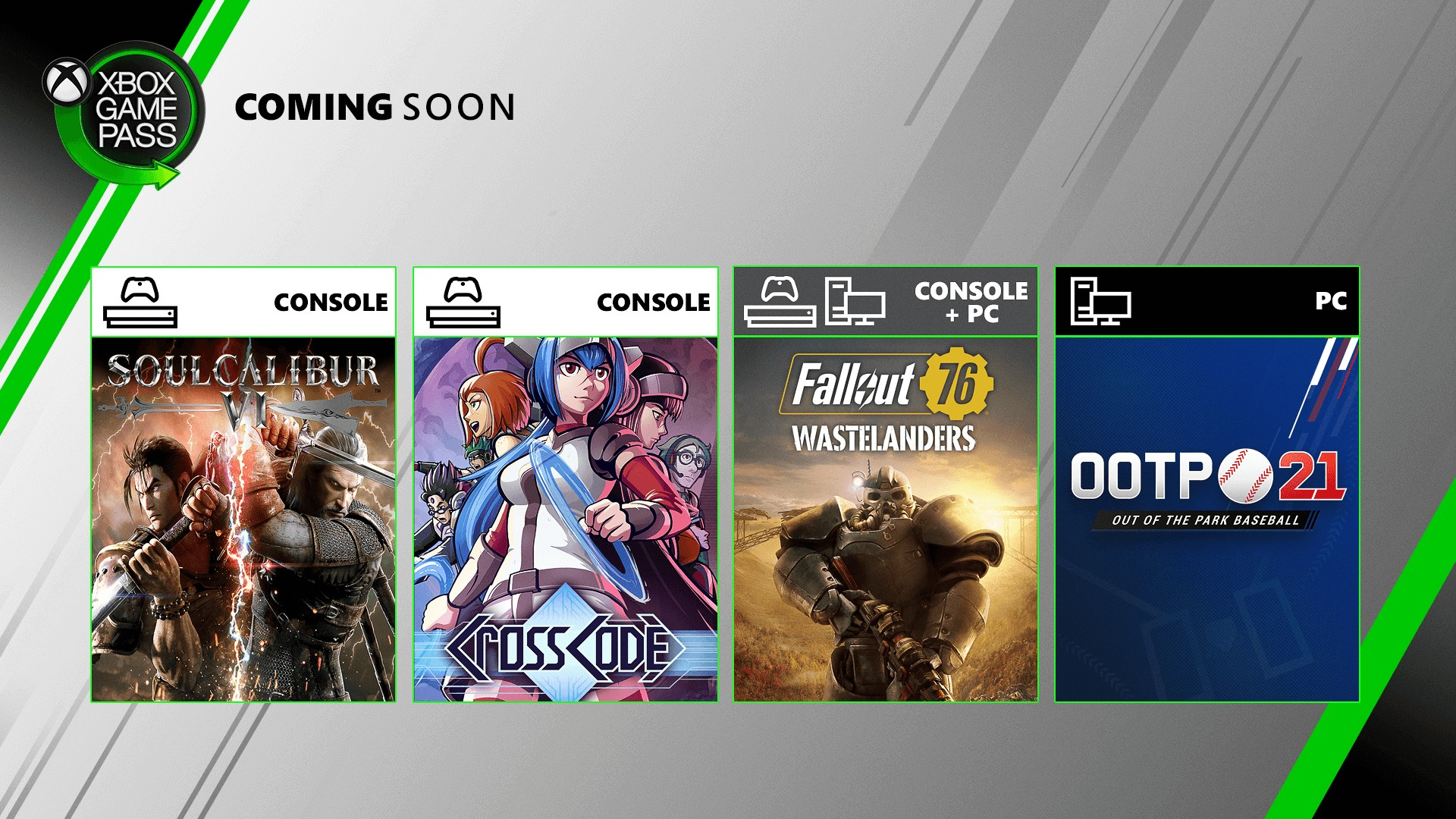 Xbox Game Pass adds Soulcalibur VI, Fallout 76, CrossCode, and Out of the Park Baseball 21 in July - Gematsu