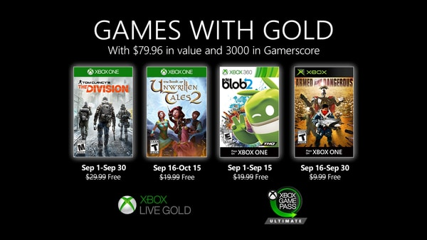 Xbox Live Gold free games for September 2020