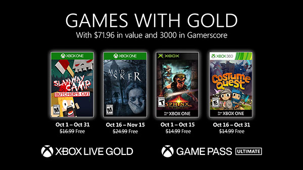 Xbox Live Gold free games for October 2020