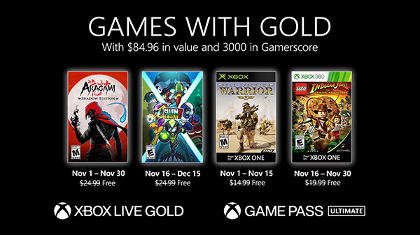Xbox Live Gold free games for November 2020 announced