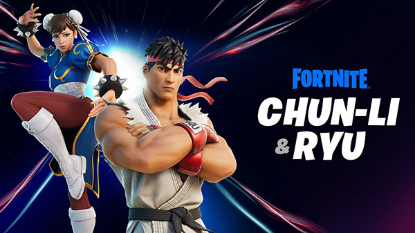Fortnite character outfits Ryu and Chun-Li from Street Fighter launch February 20